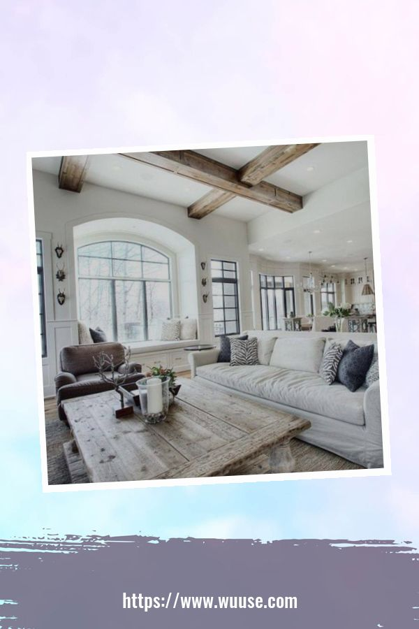 35 Brilliant Living Room Designs Ideas With Exposed Wooden Beams 22