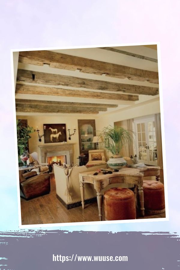 35 Brilliant Living Room Designs Ideas With Exposed Wooden Beams 30
