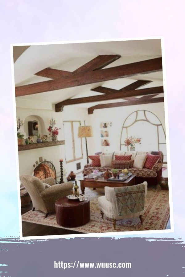 35 Brilliant Living Room Designs Ideas With Exposed Wooden Beams 4