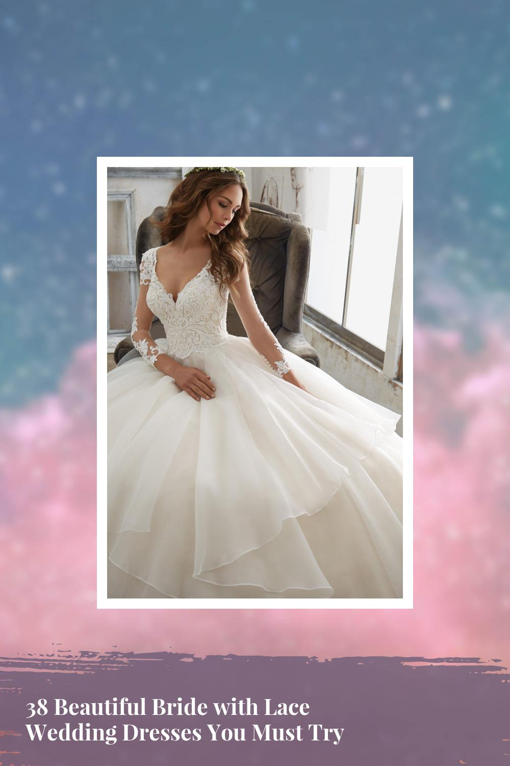 38 Beautiful Bride with Lace Wedding Dresses You Must Try 1